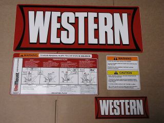 Western Snow plow Factory Original Uni Mount Decal/Sticker Kit