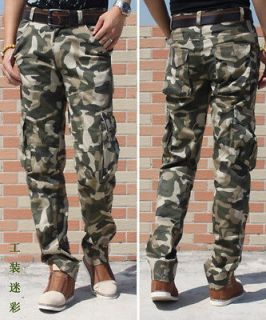 MENS CASUAL MILITARY ARMY CARGO CAMO COMBAT WORK PANTS TROUSERS