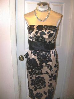 WHITE HOUSE BLACK MARKET sz14  GORGEOUS ROSE PRINT SATIN DRESS  NWT