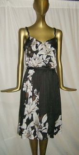 GORGEOUS NEW WHITE HOUSE BLACK MARKET RUFFLED FLORAL DRESS 2 NWT