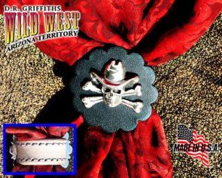 scarf wild rag slide skull n bones in cowboy hat