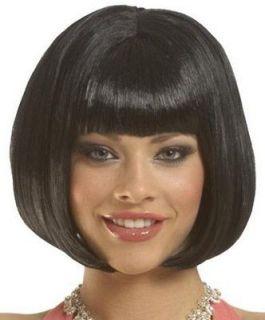 adult costume wigs short black bob bangs flapper wig one