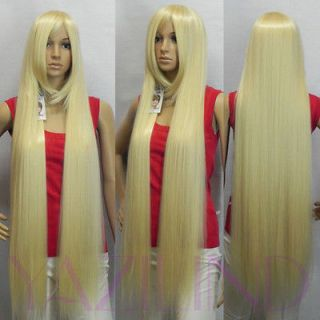 Tangled light blonde straight long blue synthetic cosplay wig cap s2