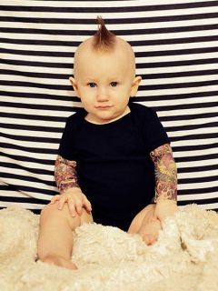 Wild Rose Salvation Tattoo Sleeve Baby Onsies Black One Piece Shirt