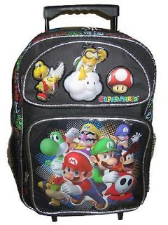 Yoshi Luigi Toad Wario Large Rolling Backpack Bag Tote Luggage Black