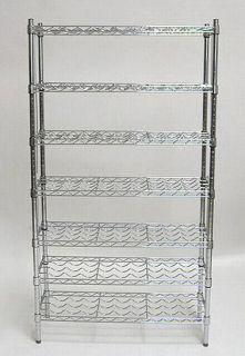 NEW 7 Shelf Metal Commercial Wine Bottle Storage Rack Chrome Shelving
