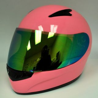 New Youth Kids Girl Motorcycle Full Face Helmet Glossy Solid Pink Size