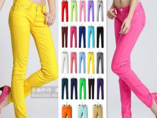 Womens Stretch Candy Pencil Pants Casual Slim Fit Skinny Jeans