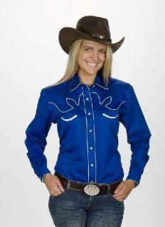 Ladies Womens Retro Western Long Sleeved Shirt Red, Black, Royal Rodeo