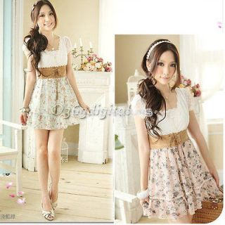 Womens Summer Sweet Clothing Retro Cut Leisure Floral Chiffon Dress