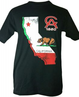 NEW CALIFORNIA REPUBLIC STATE FLAG T SHIRT BLACK SIZE MEDIUM
