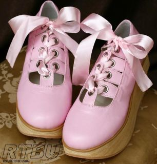 Gothic Lolita Punk Ribbon Lace Ballerina Rocking Horse Wood Sole Pink