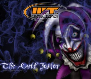 YAMAHA RAPTOR 660 660R GRAPHICS THE EVIL JESTER for a BLUE Machine