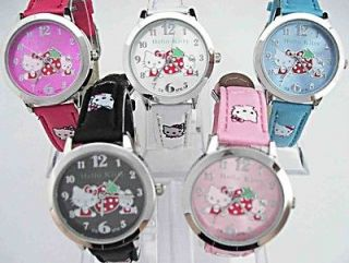 pcs Boy Girl Hello Kitty Children Wrist Watch Sport Time Clock B1