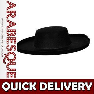 Black Felt Bandit Hat Mexican Zorro Spanish Robber Fancy Dress   One