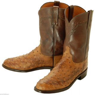 737 Pre Owned Lucchese 1883 Barnwood Ostrich Roper Cowboy Boots Mens
