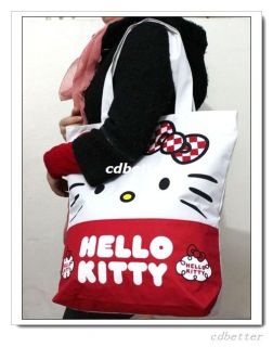 Women Girls Cute Hello Kitty Large Canvas Shopping Tote Bag Handbag