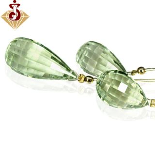 Natural Top Green Amethyst Drill Briolette Drops Beads Set layout 3pcs