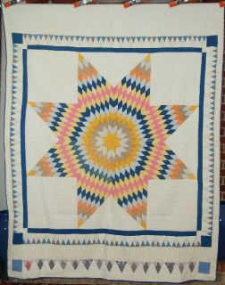 20s Lone Star Antique Quilt Amazing Pyramid Border