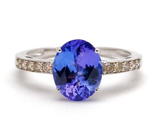 25ct Tanzanite Diamond 18K White Gold Ring GIE14