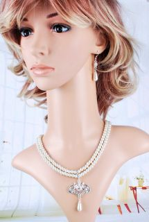 2line White Imitate Pearl Necklace Earring Set Bridal Women Rhinestone
