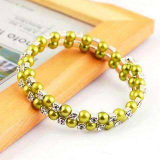 More Option 2line Bracelet Imitate Pearl Czech Rhinestone Silver