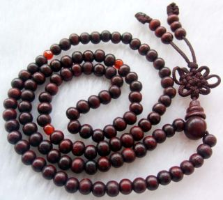 Red Wood Beads Tibetan Buddhist Prayer Mala Necklace