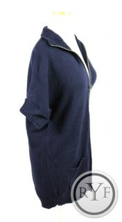 360 Sweater Navy Blue Cotton Blend Short Sleeve Cardigan Sweater Top