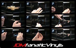 2X 5x10 3D Carbon Fiber Vinyl Bow Tie Emblem Overlays Decal Wrap