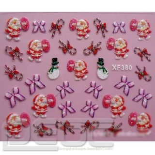 Hot Christmas Wrap 3D Nail 26 Designs Art Stickers Foil Tips Decal