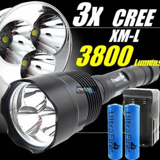 3X CREE XML XM L T6 LED 3800Lm Flashlight Torch Set