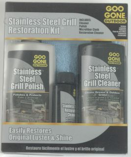 GOO GONE OUTDOOR STAINLESS STEEL BBQ GRILL RESTORATION KIT POLISH