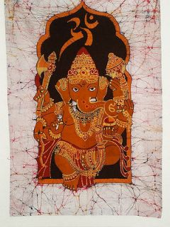 Batik Wall Hanging   Orange Ganesh (India)