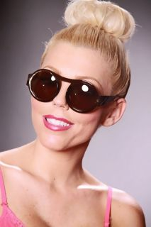 Brown Plastic Round Frame Top Bar Tinted Sunglasses @ Amiclubwear