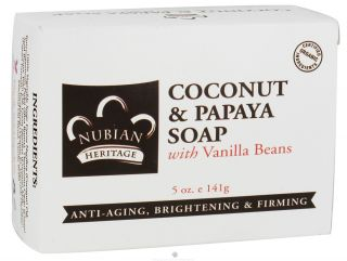 Nubian Heritage   Bar Soap Coconut & Papaya   5 oz. with Vanilla Beans