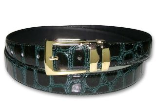 Forest Green Bonded Leather Belt Gold Tone Buckle Sz 40