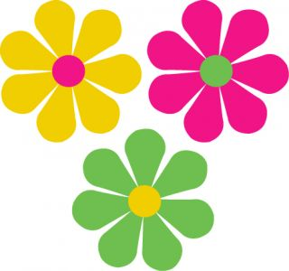 Stickers Decals 60s Style Flowers Bug Car 3 Colors
