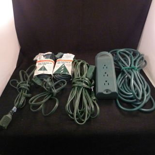 Lot 6 Extention Cords Single 3 & 9 Outlet Woods Green Christmas Tree