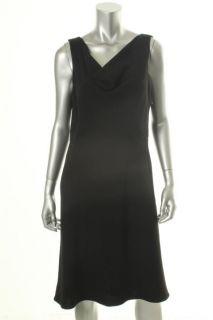 New Black Sleeveless Cowl Neck A Line Wear to Work Dress 8 BHFO