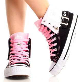 Black Pink Canvas Lace Up Graphic Print Women Sneaker Ankle Boots Size