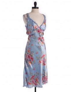 Free People Blue Silk Back Tie Floral Dress Sz 6 A Line