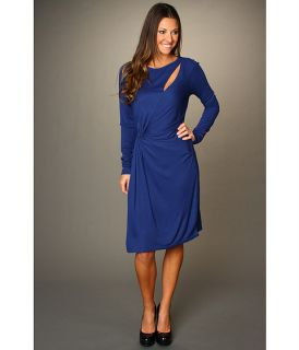 Halston Heritage Long Sleeve Asymmetrical Slit and Twist Front Dress $