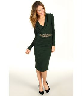 Badgley Mischka Long Sleeve Cowl Neck Dress With Belt $355.99 $594.00