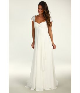 Nicole Miller Chiffon Gown With Embellished Cap Sleeves $1,695.00