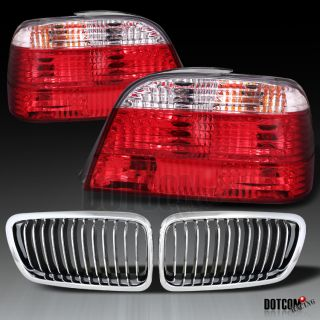 EURO RED/CLEAR TAIL LIGHTS + CHROME OEM STYLE FRONT HOOD GRILL