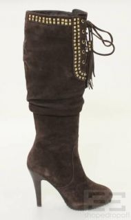 Brown Suede Gold Studded Stiletto Heel Boots Size 8