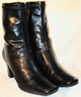 A2 AEROSOLES Black Synthetic Leather Tapered Square Toe Calf Boots 11M