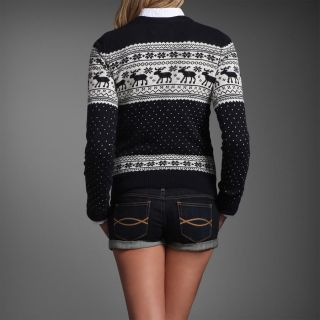 Abercrombie Fitch Women Navy Blue Fair Isles Moose Sweater XS NWT