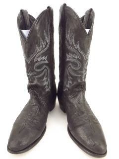 Mens cowboy boots black leather Abilene 9 D western embroidered