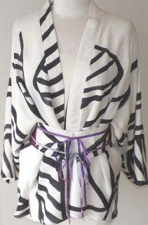 Roselle Abramowitz White Black Pattern Silk Linen Kimono Jacket Art to